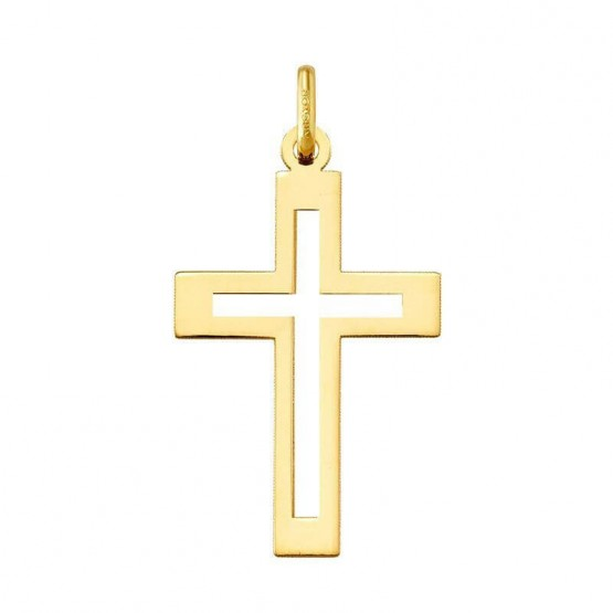 Colgante cruz latina calada en oro 14k (23310)